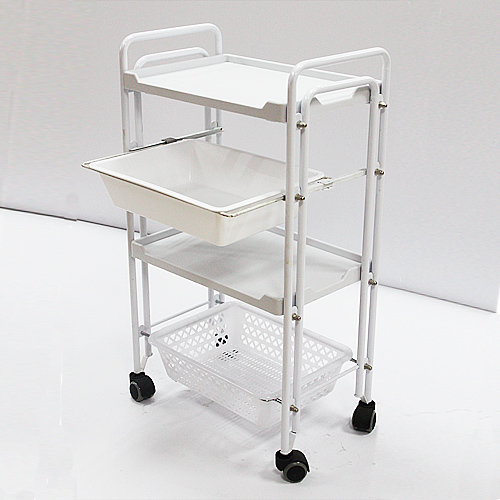 Professional Double Tube Beauty Instrument Trolley, Salon Trolley
